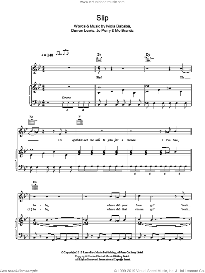 Slip sheet music for voice, piano or guitar by Stooshe, Darren Lewis, Iyiola Babalola, Jo Perry and Mo Brandis, intermediate skill level