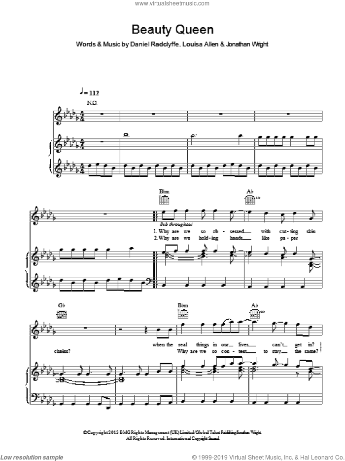 Beauty Queen sheet music for voice, piano or guitar by Foxes, Daniel Radclyffe, Jonathan Wright and Louisa Allen, intermediate skill level