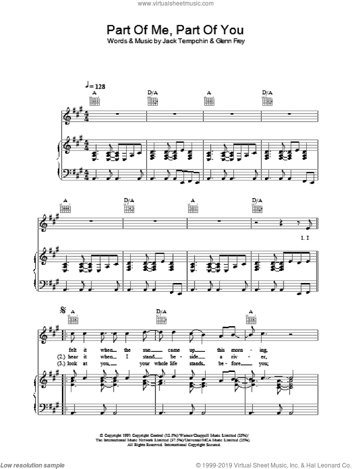 Part Of Me, Part Of You sheet music for voice, piano or guitar by Glenn Frey and Jack Tempchin, intermediate skill level