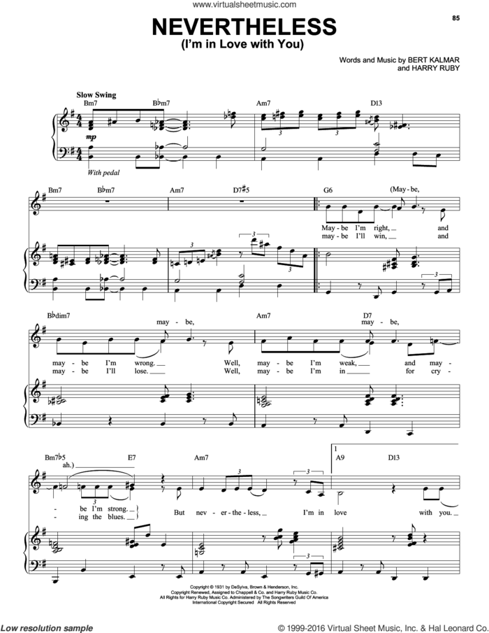 Nevertheless (I'm In Love With You) sheet music for voice, piano or guitar by Michael Buble, intermediate skill level