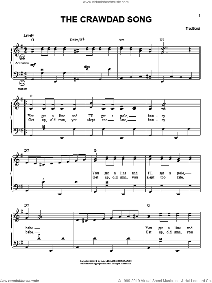 The Crawdad Song sheet music for accordion by Gary Meisner, intermediate skill level