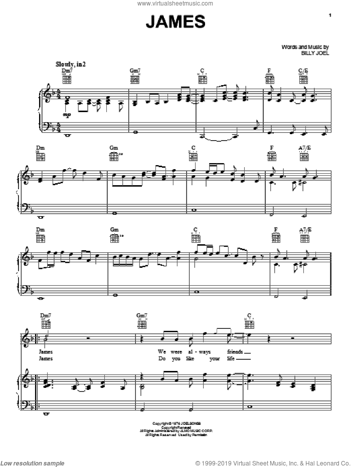 James sheet music for voice, piano or guitar by Billy Joel, intermediate skill level