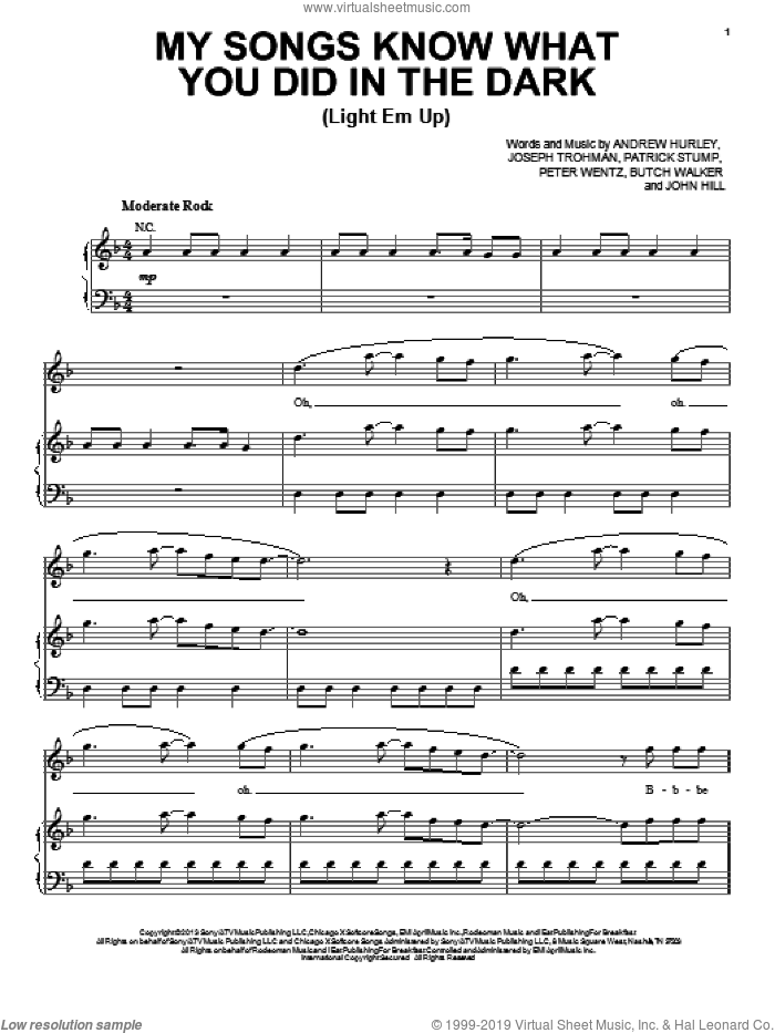 My Songs Know What You Did In The Dark (Light Em Up) sheet music for voice, piano or guitar by Fall Out Boy, intermediate skill level