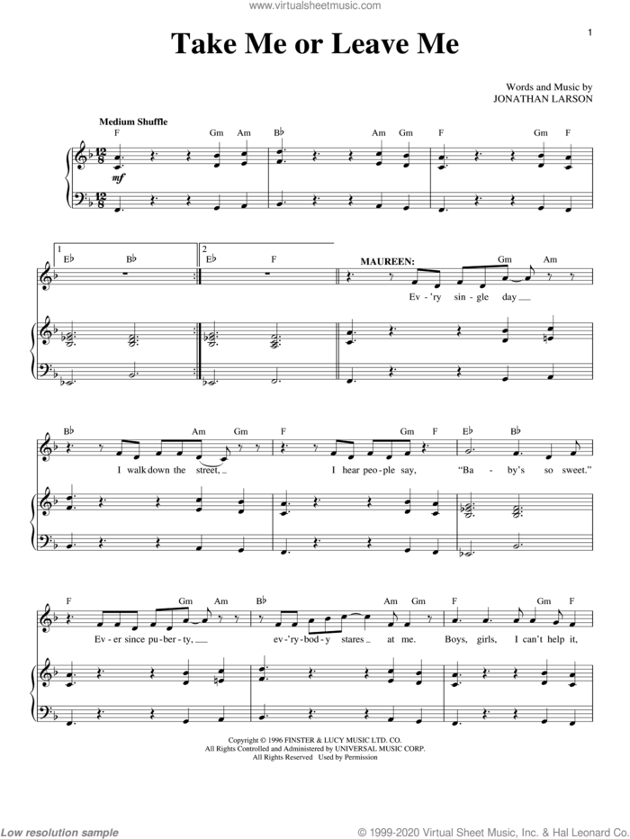 Take Me Or Leave Me sheet music for voice and piano by Jonathan Larson and Rent (Musical), intermediate skill level