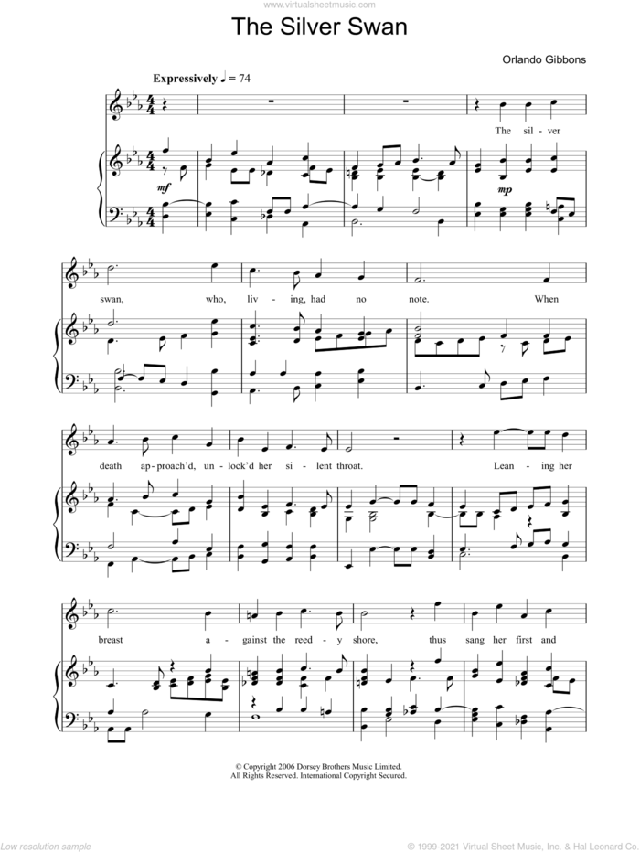 The Silver Swan sheet music for voice, piano or guitar by Orlando Gibbons, classical score, intermediate skill level