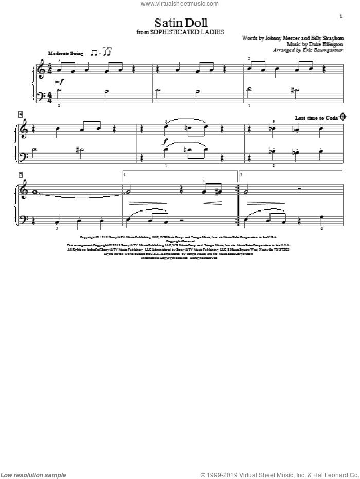 Satin Doll sheet music for piano solo (elementary) by Duke Ellington, Billy Strayhorn, Eric Baumgartner and Johnny Mercer, beginner piano (elementary)