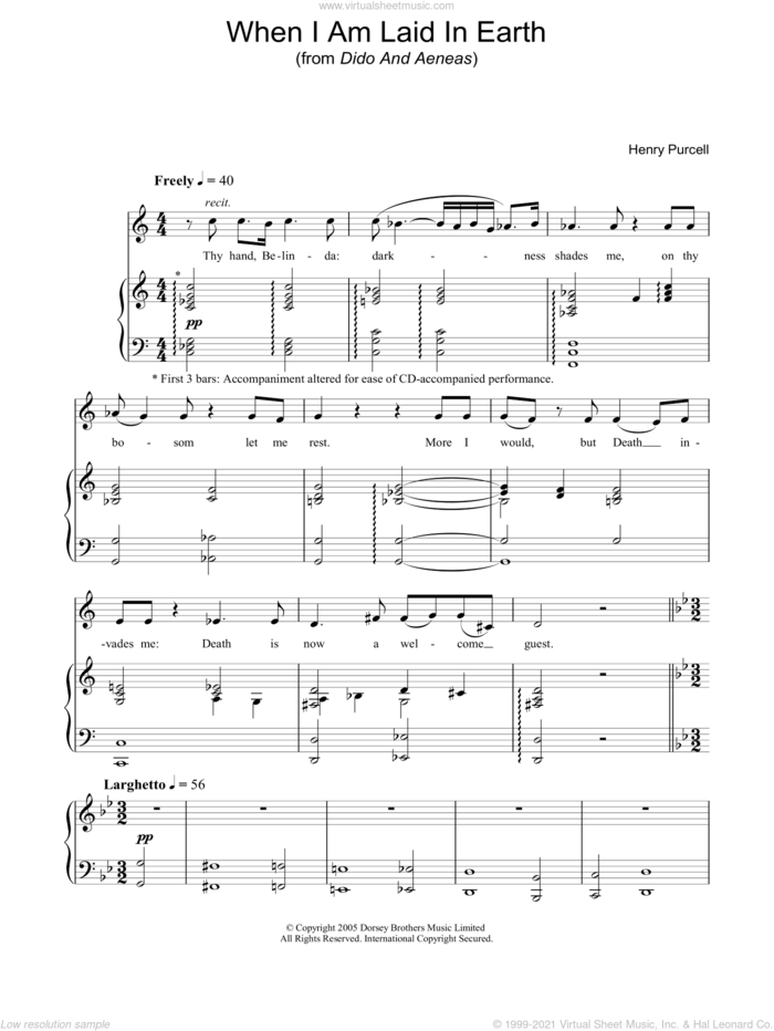 When I Am Laid In Earth (from Dido And Aeneas) sheet music for voice, piano or guitar by Henry Purcell, classical score, intermediate skill level
