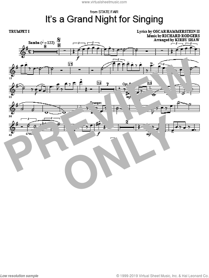 It's a Grand Night for Singing sheet music for orchestra/band (trumpet 1) by Kirby Shaw, Oscar II Hammerstein and Richard Rodgers, intermediate skill level