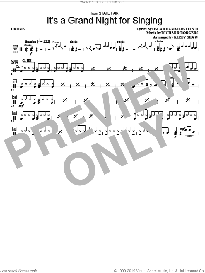 It's a Grand Night for Singing sheet music for orchestra/band (drums) by Kirby Shaw, Oscar II Hammerstein and Richard Rodgers, intermediate skill level