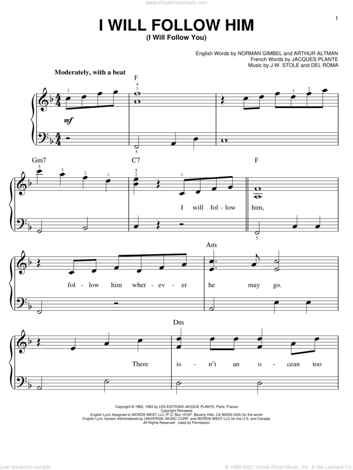 I Will Follow Him (I Will Follow You) sheet music for piano solo by Little Peggy March, easy skill level