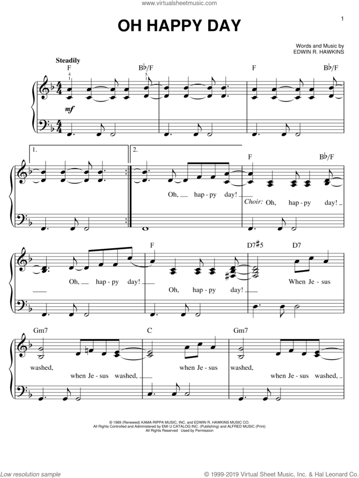 Oh Happy Day sheet music for piano solo by Edwin R. Hawkins, easy skill level