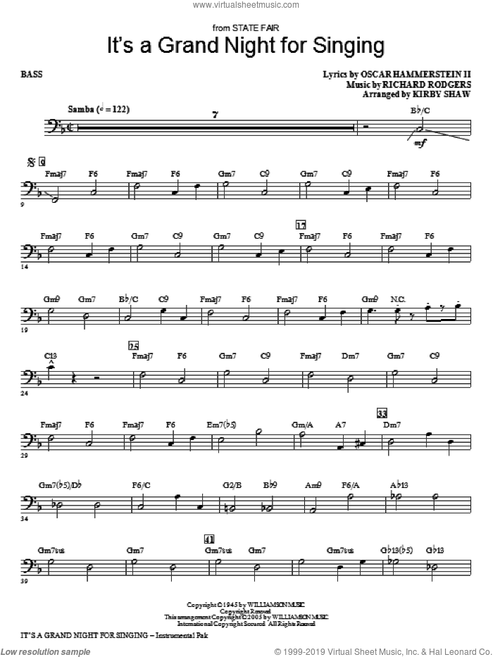 It's a Grand Night for Singing sheet music for orchestra/band (bass) by Kirby Shaw, Oscar II Hammerstein and Richard Rodgers, intermediate skill level