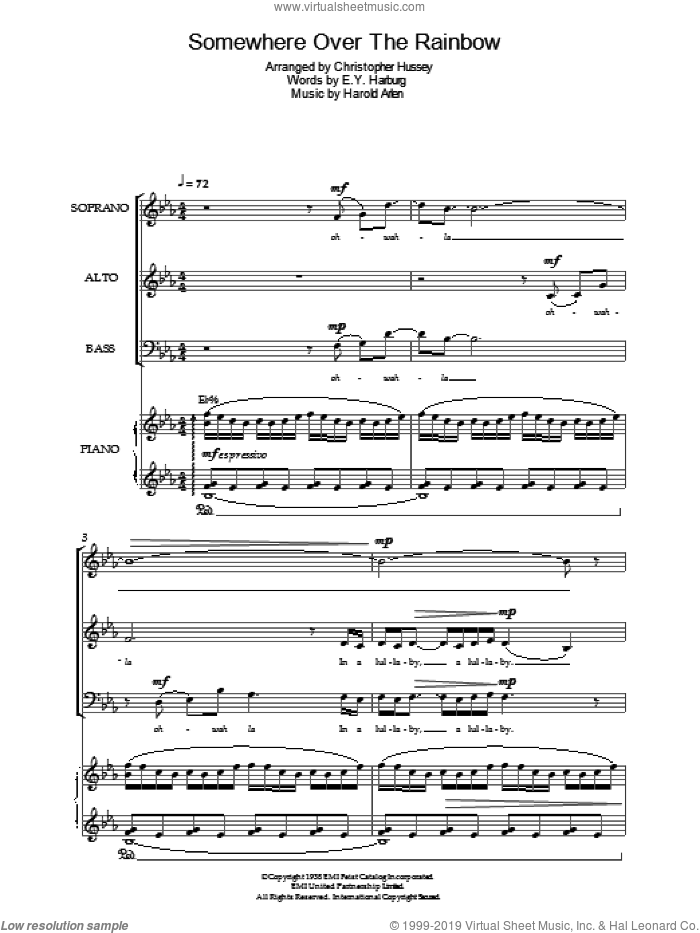 Over The Rainbow (from The Wizard Of Oz) sheet music for voice, piano or guitar by Judy Garland, E.Y. Harburg and Harold Arlen, intermediate skill level