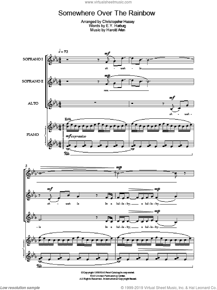 Over The Rainbow (from 'The Wizard Of Oz') sheet music for choir by Judy Garland, E.Y. Harburg and Harold Arlen, intermediate skill level
