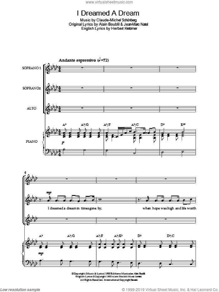 I Dreamed A Dream (from 'Les Miserables') sheet music for choir by Les Miserables, Alain Boublil, Claude-Michel Schonberg, Herbert Kretzmer and Jean-Marc Natel, intermediate skill level