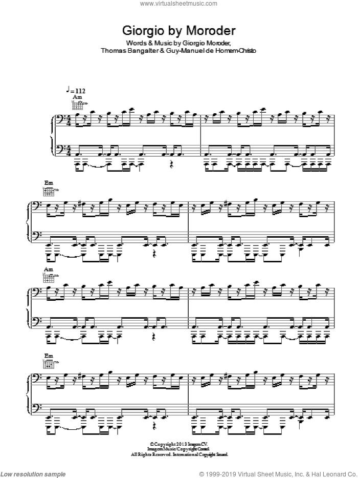 Giorgio By Moroder sheet music for voice, piano or guitar by Daft Punk, Giorgio Moroder, Guy-Manuel de Homem-Christo and Thomas Bangalter, intermediate skill level