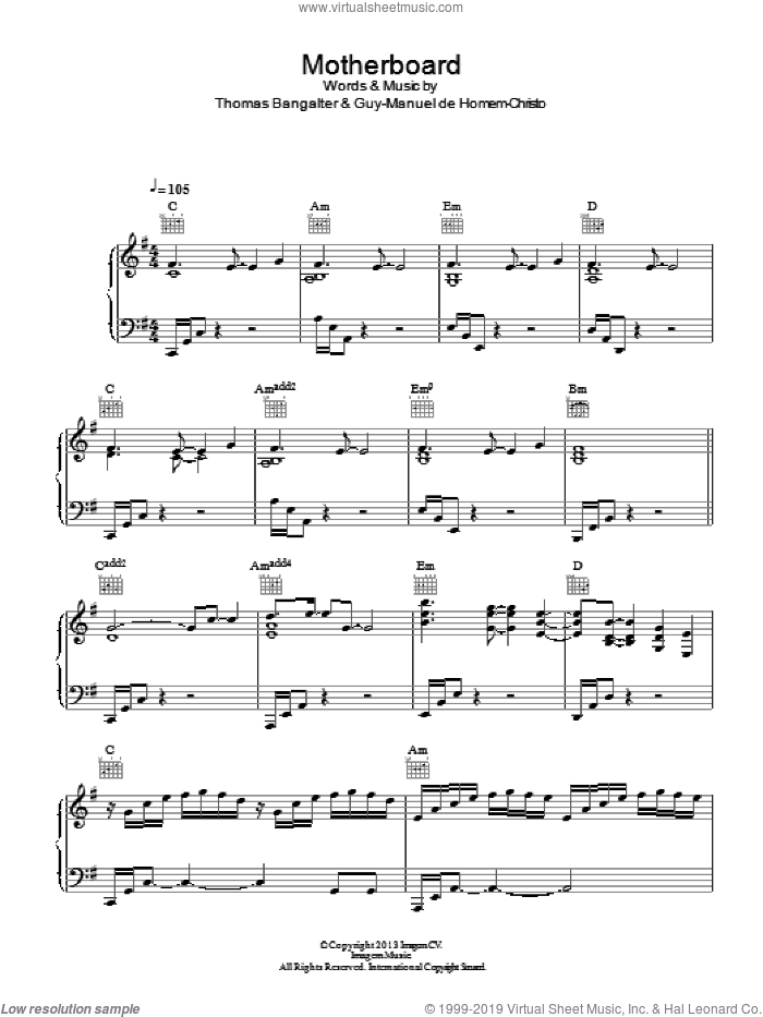 Motherboard sheet music for voice, piano or guitar by Daft Punk, Guy-Manuel de Homem-Christo and Thomas Bangalter, intermediate skill level