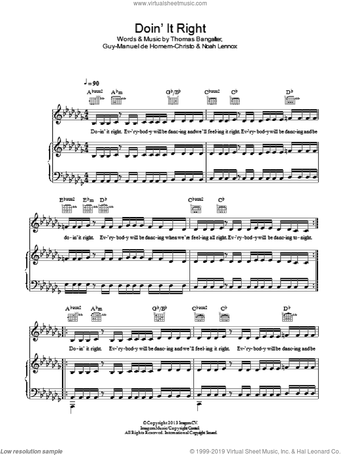 Doin' It Right sheet music for voice, piano or guitar by Daft Punk, Guy-Manuel de Homem-Christo, Noah Lennox and Thomas Bangalter, intermediate skill level
