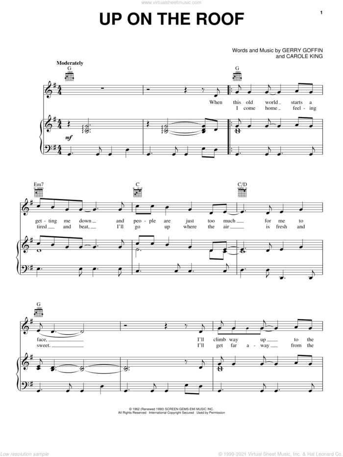 Up On The Roof sheet music for voice, piano or guitar by The Drifters, James Taylor, Carole King and Gerry Goffin, intermediate skill level