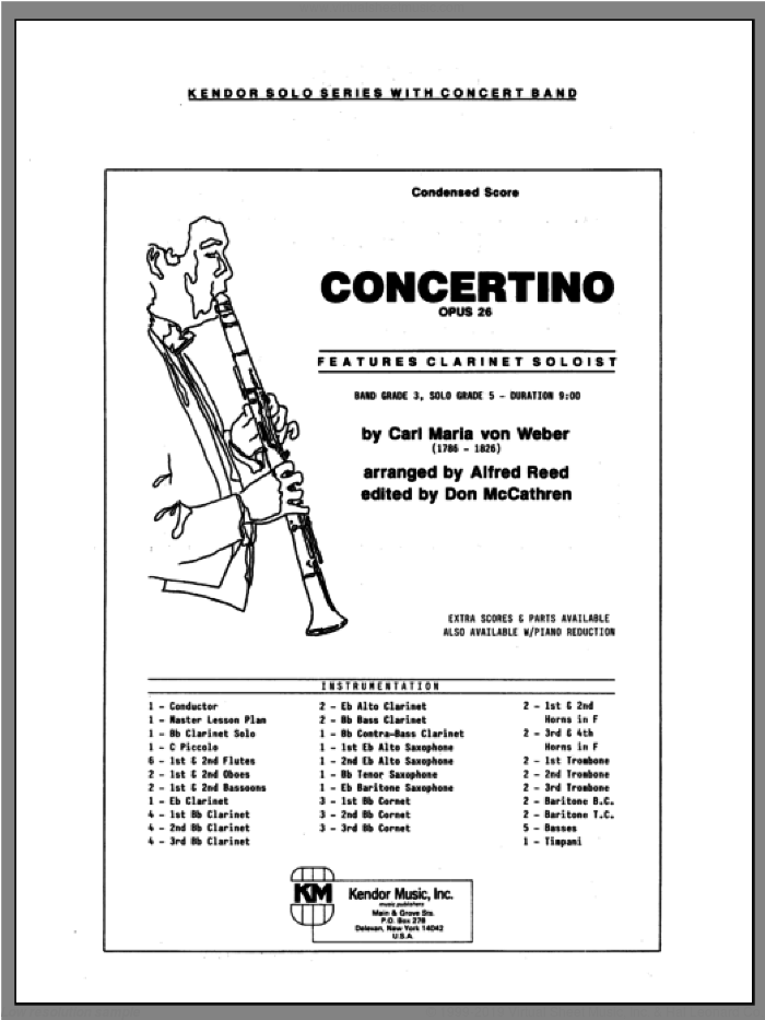 Concertino (COMPLETE) sheet music for concert band by Carl Maria Von Weber and REED, classical score, intermediate skill level