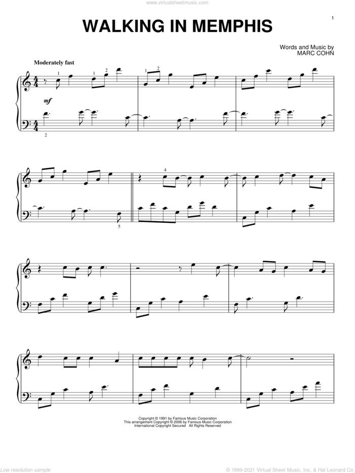 Walking In Memphis, (intermediate) sheet music for piano solo by Marc Cohn and Lonestar, intermediate skill level