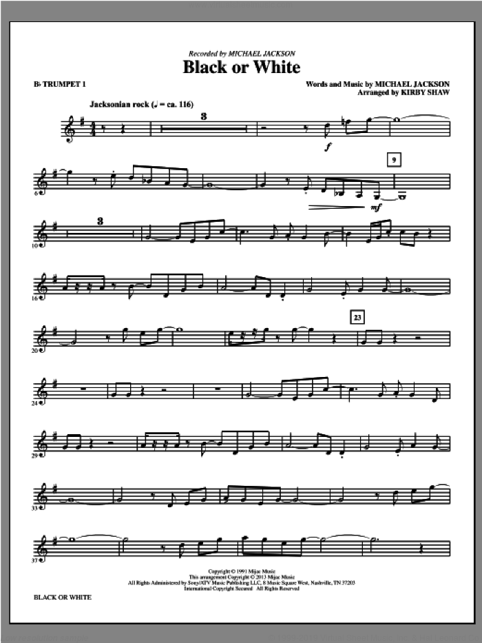 Black or White (complete set of parts) sheet music for orchestra/band by Kirby Shaw and Michael Jackson, intermediate skill level