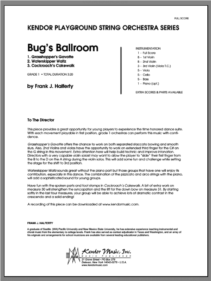 Bug's Ballroom (COMPLETE) sheet music for orchestra by Frank J. Halferty, classical score, intermediate skill level
