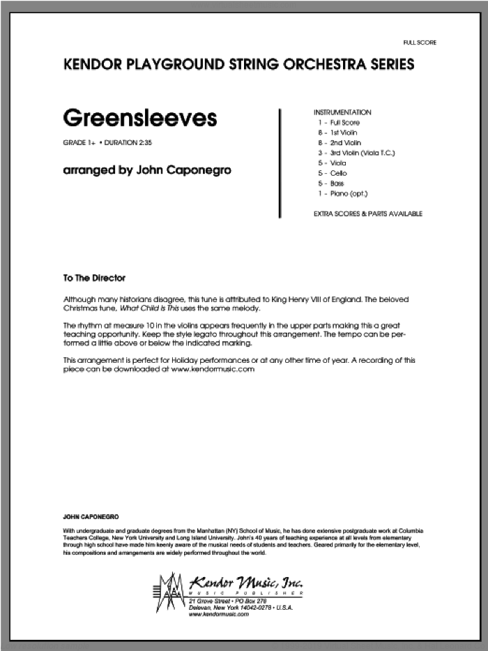Greensleeves (COMPLETE) sheet music for orchestra by John Caponegro, classical score, intermediate skill level