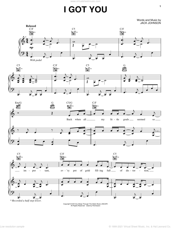 I Got You sheet music for voice, piano or guitar by Jack Johnson, intermediate skill level