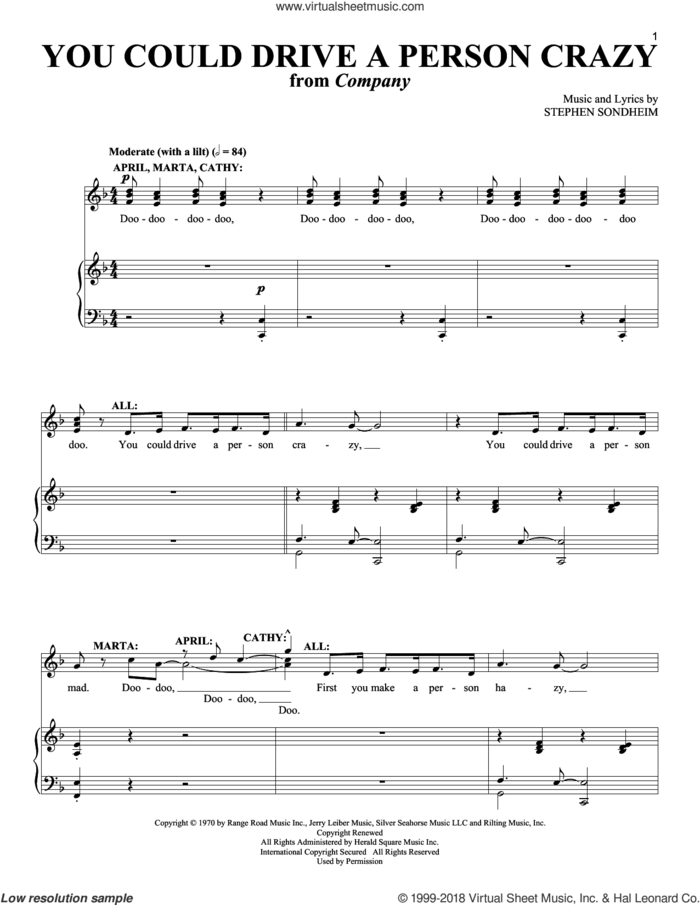 You Could Drive A Person Crazy sheet music for voice and piano by Stephen Sondheim and Company (Musical), intermediate skill level