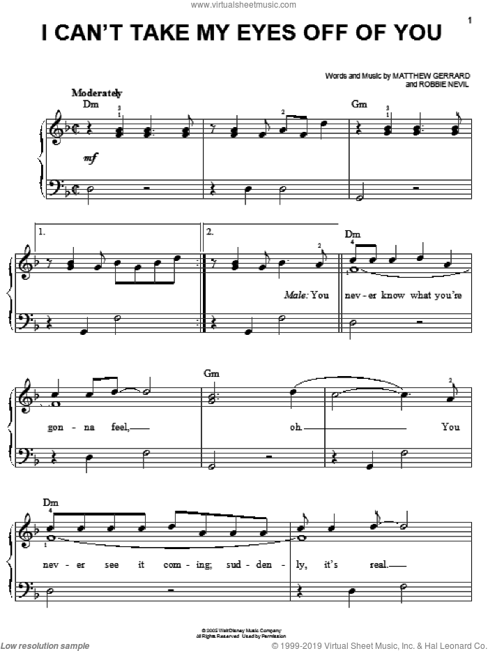 I Can't Take My Eyes Off Of You sheet music for piano solo by High School Musical, Matthew Gerrard and Robbie Nevil, easy skill level