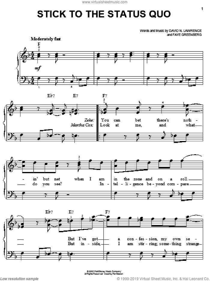 Stick To The Status Quo, (easy) sheet music for piano solo by High School Musical, David N. Lawrence and Faye Greenberg, easy skill level