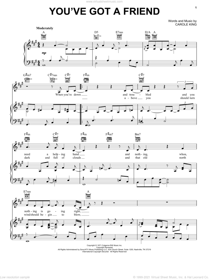 You've Got A Friend sheet music for voice, piano or guitar by Carole King and James Taylor, intermediate skill level
