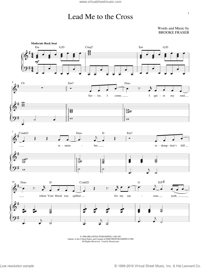 Lead Me To The Cross sheet music for voice and piano (High Voice) by Hillsong United and Brooke Fraser, intermediate skill level