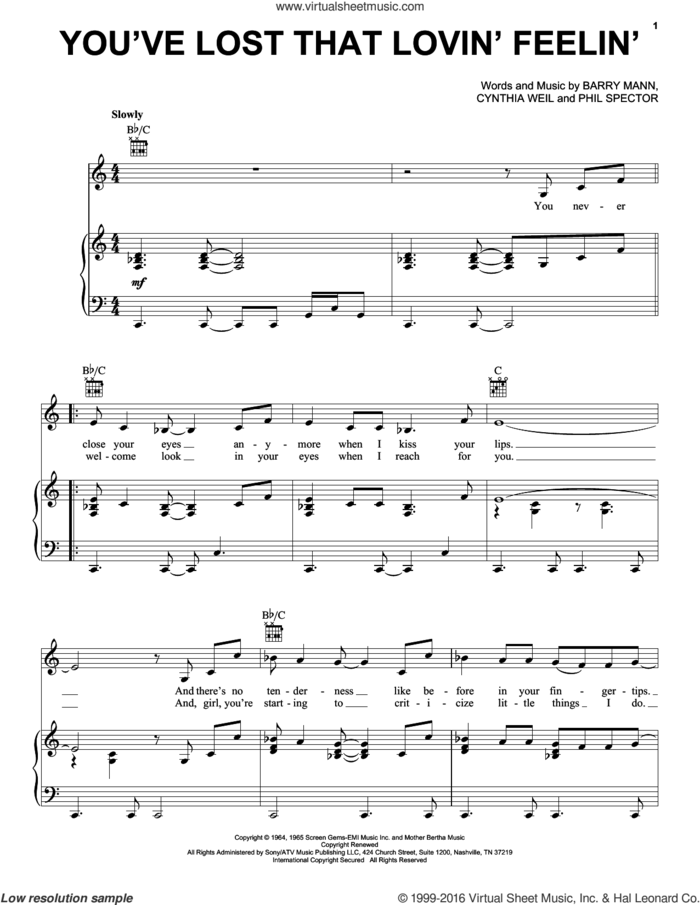 You've Lost That Lovin' Feelin' sheet music for voice, piano or guitar by Elvis Presley, The Righteous Brothers, Barry Mann, Cynthia Weil and Phil Spector, intermediate skill level