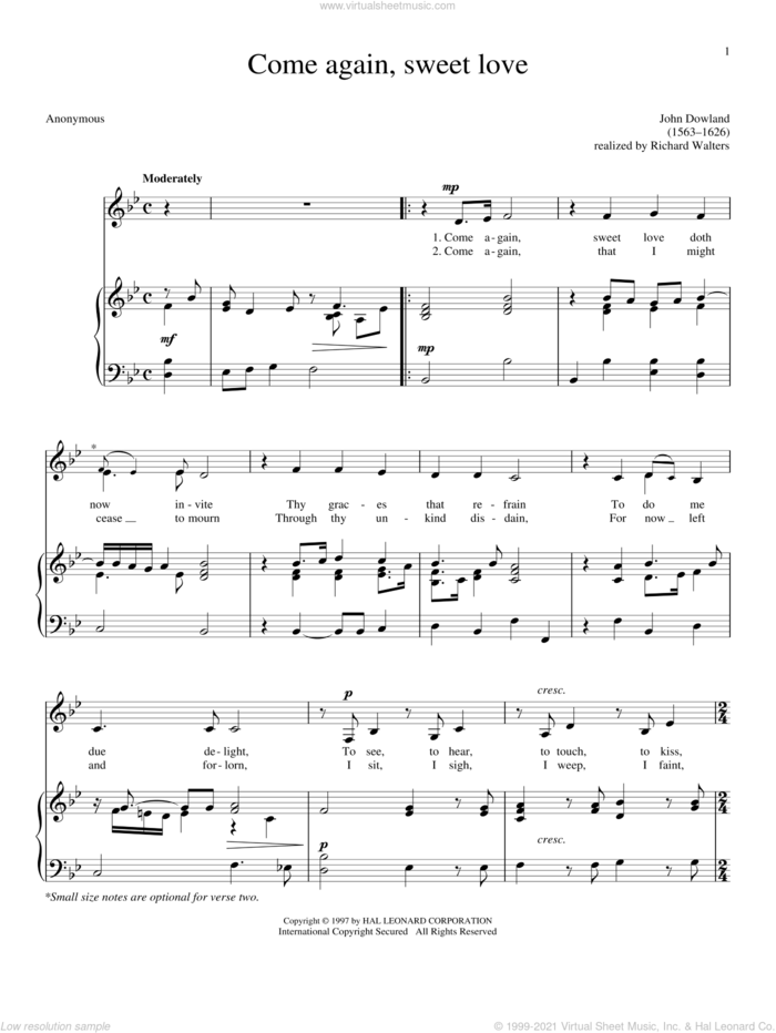 Come Again, Sweet Love (Dowland) sheet music for voice and piano by John Dowland, intermediate skill level