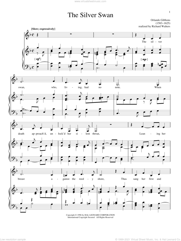 The Silver Swan sheet music for voice and piano by Orlando Gibbons, classical score, intermediate skill level