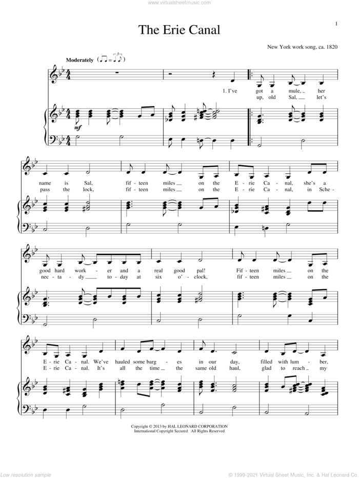 The Erie Canal sheet music for voice and piano, intermediate skill level