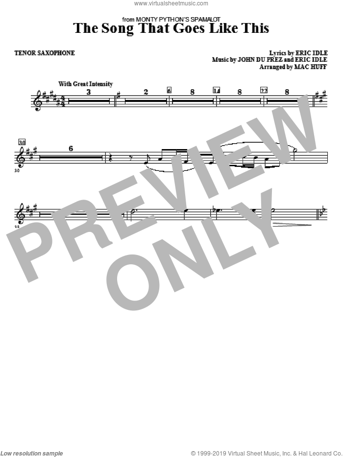 The Song That Goes like This sheet music for orchestra/band (tenor sax) by Mac Huff, Eric Idle and John Du Prez, intermediate skill level