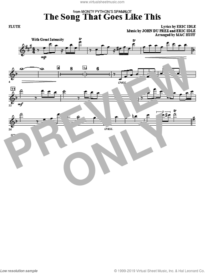 The Song That Goes like This sheet music for orchestra/band (flute) by Mac Huff, Eric Idle and John Du Prez, intermediate skill level
