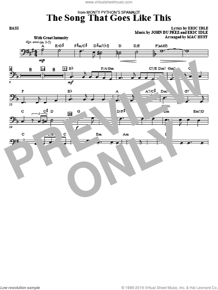 The Song That Goes like This sheet music for orchestra/band (bass) by Mac Huff, Eric Idle and John Du Prez, intermediate skill level