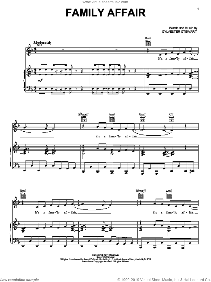 Family Affair sheet music for voice, piano or guitar by Sly And The Family Stone and Sylvester Stewart, intermediate skill level