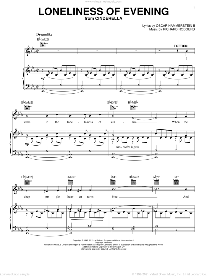 Loneliness Of Evening (from Cinderella) sheet music for voice, piano or guitar by Rodgers & Hammerstein, Cinderella (Broadway), Oscar II Hammerstein and Richard Rodgers, intermediate skill level