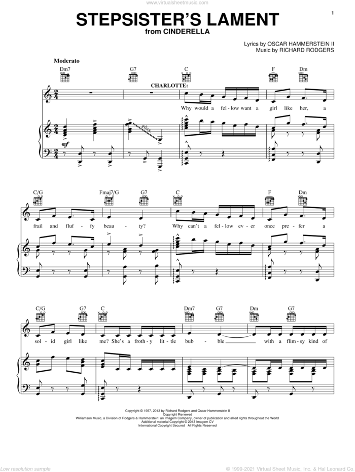 Stepsisters' Lament (from Cinderella) sheet music for voice, piano or guitar by Rodgers & Hammerstein, Cinderella (Broadway), Oscar II Hammerstein and Richard Rodgers, intermediate skill level