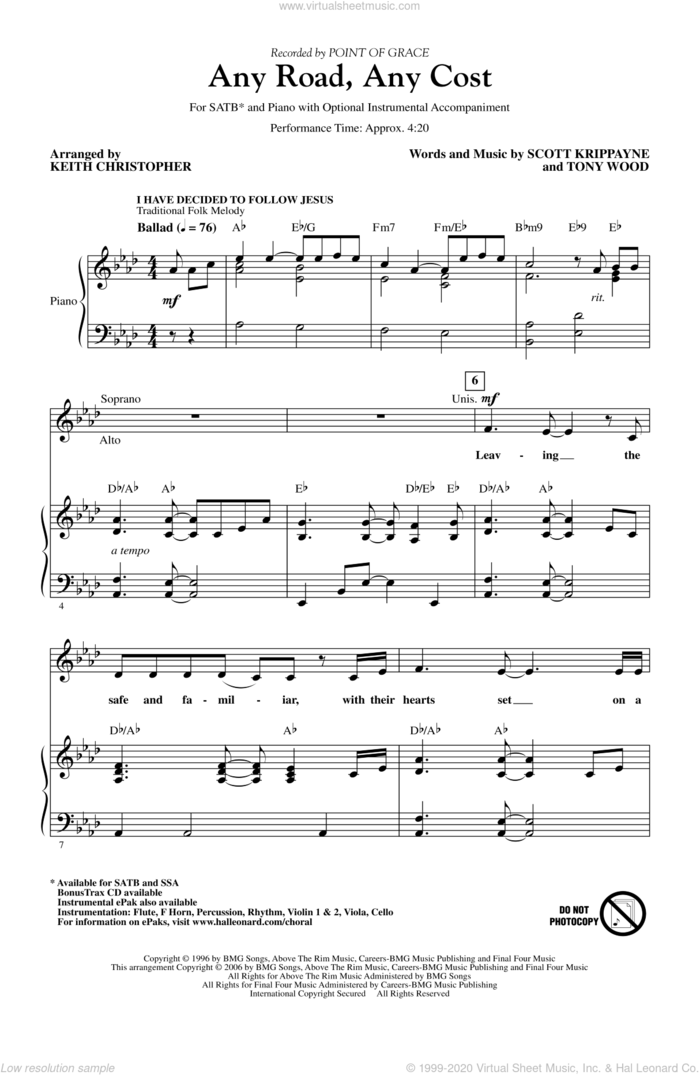 Any Road, Any Cost (arr. Keith Christopher) sheet music for choir (SATB: soprano, alto, tenor, bass) by Keith Christopher, Point Of Grace, Scott Krippayne and Tony Wood, intermediate skill level