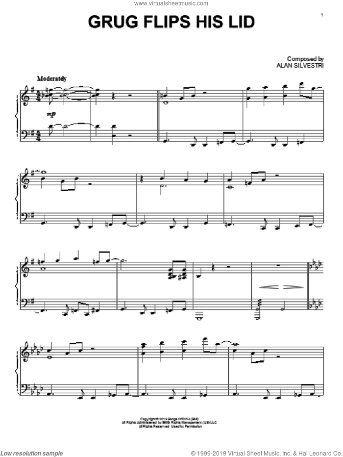 Going Guy's Way (from The Croods) sheet music for piano solo by Alan Silvestri and The Croods (Movie), intermediate skill level