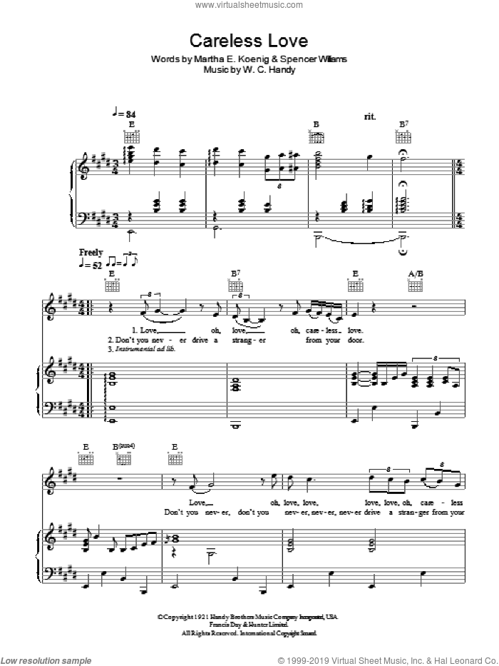 Careless Love sheet music for voice, piano or guitar by Hugh Laurie, Martha E. Koenig, Spencer Williams and W.C. Handy, intermediate skill level