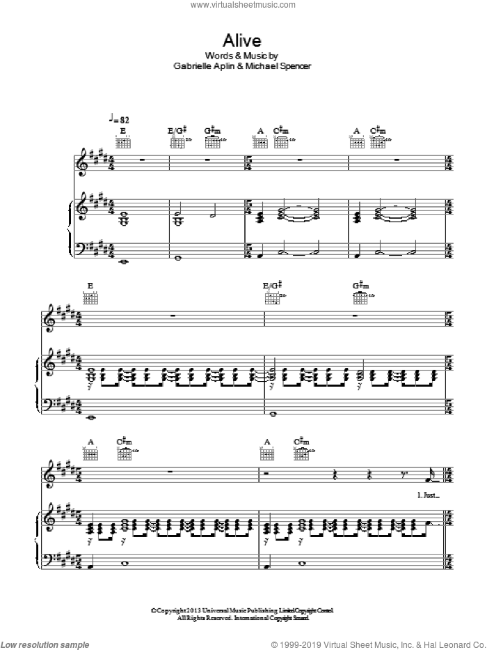 Alive sheet music for voice, piano or guitar by Gabrielle Aplin and Michael Spencer, intermediate skill level