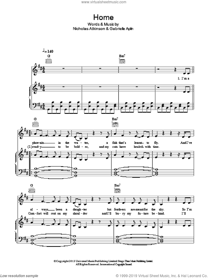 Home sheet music for voice, piano or guitar by Gabrielle Aplin and Nicholas Atkinson, intermediate skill level