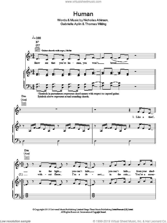 Human sheet music for voice, piano or guitar by Gabrielle Aplin, Nicholas Atkinson and Thomas Wilding, intermediate skill level